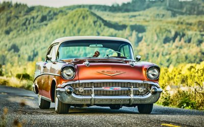 Chevrolet Bel Aire, HDR, 1957 coches, carretera, coches retro, 1957 Chevrolet Bel Air, american coches, Chevrolet