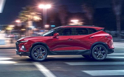 Chevrolet Blazer RS, motion blur, 2019 cars, crossovers, street, american cars, Chevrolet