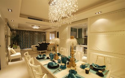 modern stylish interior, dining room, living room, classic style, African candlesticks, modern interior design