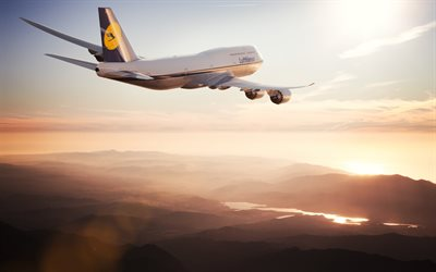 Boeing 747, airplane in the sky, sunset, evening sky, passenger airplane, Lufthansa, Boeing