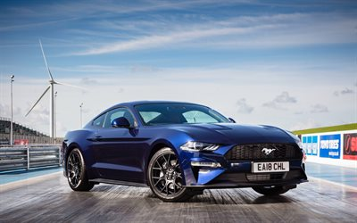 Ford Mustang, 2018, Fastback, Ecoboost, front view, american blue sport car, new blue Mustang, exterior, Ford