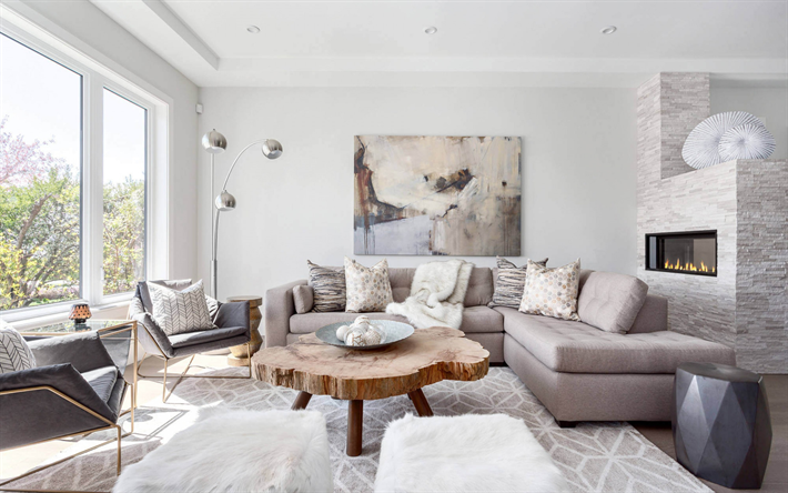 Weiße Stilvolle Wohnzimmer, Kamin, Moderne Innenausstattung, Graues Sofa,  Gemütliche Einrichtung, Wohnzimmer