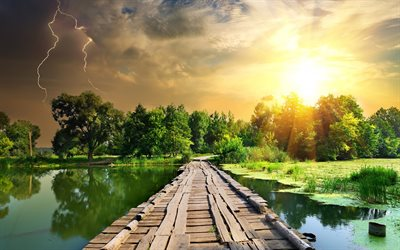 lake, wooden bridge, sunset, storm clouds, lightning, evening, green trees