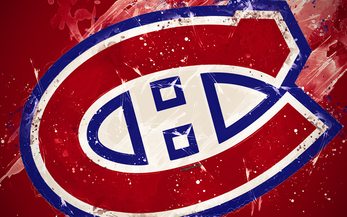 Download wallpapers montreal canadiens 4k grunge art canadian hockey club logo purple - Logo des canadiens de montreal ...