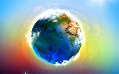 Earth, planet, art, 3d globe, continents, oceans, creative art