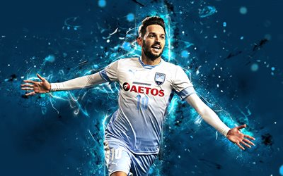 4k, Milos Ninkovic, abstract art, football, Sydney FC, soccer, Ninkovic, A-League, footballers, neon lights, FC Sydney