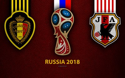 Belgium vs Japan, Round 16, 4k, leather texture, logo, 2018 FIFA World Cup, Russia 2018, July 2, football match, creative art, national football teams