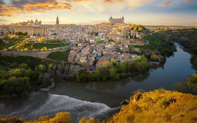 Toledo, Alcazar of Toledo, Tagus River, evening, summer, beautiful city, sunset, city landscape, Spain