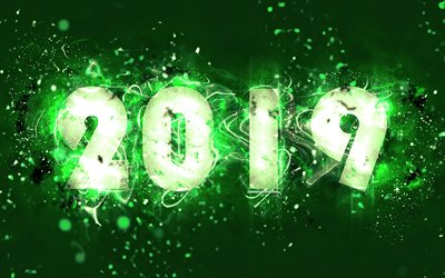 4k, 2019 year, neon lights, abstract art, 2019 concepts, green background, creative, Happy New Year 2019