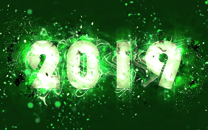 4k 2019 year neon lights abstract art 2019 concepts green background