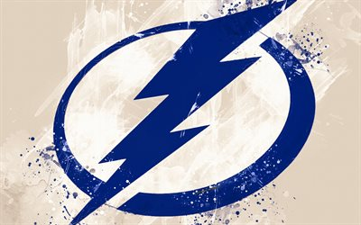 Tampa Bay Lightning, 4k, grunge art, American hockey club, logo, white background, creative art, emblem, NHL, Tampa, Florida, USA, hockey, Eastern Conference, National Hockey League, paint art
