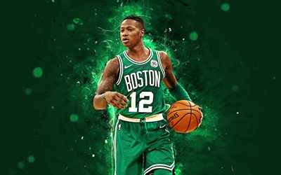 Terry Rozier, 4k, abstract art, NBA, basketball stars, Boston Celtics, Rozier, neon lights, basketball, creative