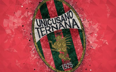 Ternana Calcio, Unicusano Ternana Calcio, 4k, logo, geometric art, Serie B, red abstract background, creative art, emblem, Italian football club, Terni, Italy, football