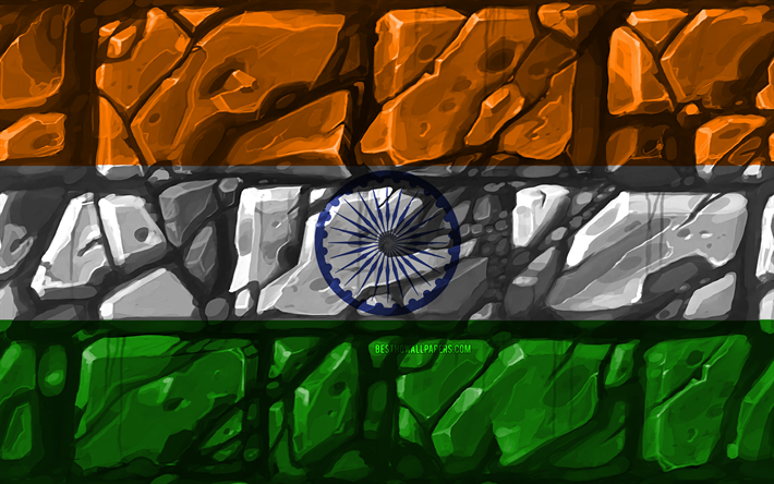 Download Wallpapers Indian Flag Brickwall 4k Asian