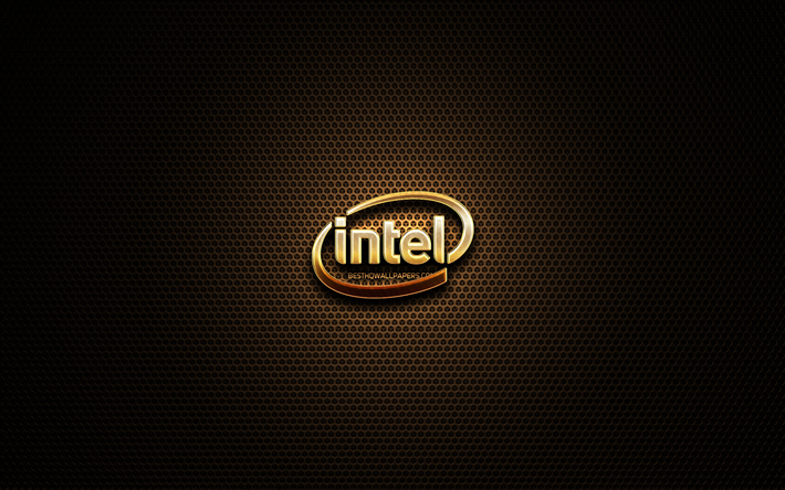 Intel glitter logo, creative, metal grid background, Intel logo, brands, Intel