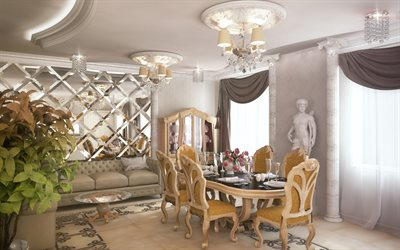 stylish interior, living room, classic style, modern interior design, white sculptures in the living room, wall of mirrors, luxury chairs