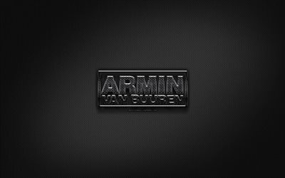 Armin van Buuren black logo, music stars, creative, metal grid background, Armin van Buuren logo, superstars, Armin van Buuren