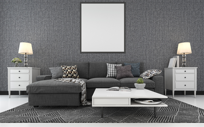 stylish gray living room interior, gray fabric wall, modern interior design, gray style in the interior