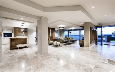 stylish design for apartments, modern interior design, apartments, white marble floor, living room, white walls, metal round chandeliers