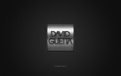 David Guetta logo, silver shiny logo, David Guetta metal emblem, French DJ, David Pierre Guetta, gray carbon fiber texture, David Guetta, brands, creative art