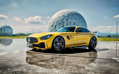 Mercedes-Benz GT R AMG, 2019, G-Power, yellow sports coupe, yellow supercar, tuning GT R, German sports cars, GP 63 Bi-Turbo, Mercedes-AMG
