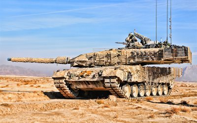 Leopard 2A6M CAN, 4k, desert, tanks, Canadian MBT, Canadian Army, sand camouflage, armored vehicles, Leopard 2