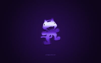 Monstercat logo, purple shiny logo, Monstercat metal emblem, purple carbon fiber texture, Monstercat, brands, creative art