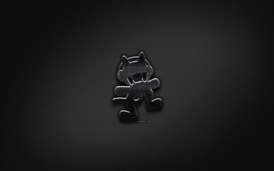 Monstercat black logo, music stars, creative, metal grid background, Monstercat logo, music brands, Monstercat