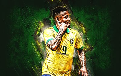 Gabriel Jesus, Brazilian soccer player, Brazil national football team, portrait, green stone background, creative art, football, Brazil