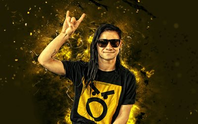 Skrillex, 4k, abstract art, american DJ, music stars, Sonny John Moore, neon lights, superstars, guys, DJ Skrillex, DJs