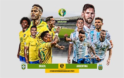 Brazil vs Argentina, 2019 Copa America, Semifinal, Brazil 2019, football match, promo, team leaders, Brazil national football team, Argentina national football team, Neymar, Lionel Messi
