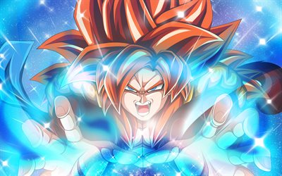 Or Goku, 4k, Goku SSJ3, rayons, Dragon Ball Super, œuvres d'art, Goku Super Saiyan 3, manga, DBS, son Gokû