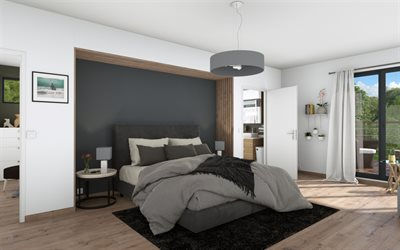bedroom, stylish interior design, white gray bedroom, white walls, wooden panels in the interior
