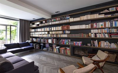 living room, stylish interior, retro style, large closet with books, bookshelves in the living room, home library