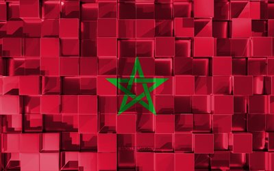 Flag of Morocco, 3d flag, 3d cubes texture, Flags of African countries, 3d art, Morocco, Africa, 3d texture, Morocco flag
