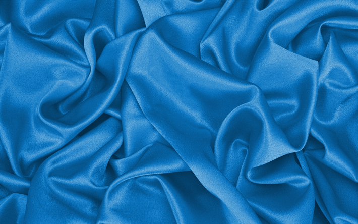 Download wallpapers 4k blue silk texture wavy fabric