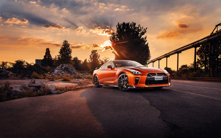 Download Wallpapers 4k Nissan Gt R Sunset R35 Supercars