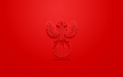 Russia national football team, creative 3D logo, red background, 3d emblem, Russia, Europe, UEFA, 3d art, football, stylish 3d logo, Russian Federation