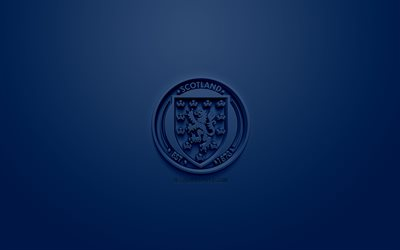 Scotland national football team, creative 3D logo, blue background, 3d emblem, Scotland, Europe, UEFA, 3d art, football, stylish 3d logo