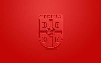 Serbia national football team, creative 3D logo, red background, 3d emblem, Serbia, Europe, UEFA, 3d art, football, stylish 3d logo