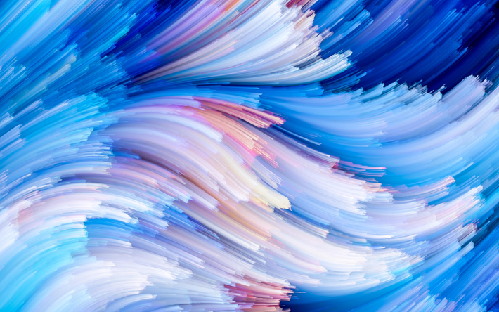 blue waves, 4k, 3D art, blue backgrounds, abstract art, abstract waves, creative, MacOS Mojave, blue abstract waves