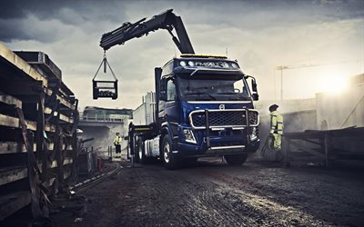 Volvo FMX, 2019, truck crane, crane arm, truck loading concepts, new blue FMX, swedish trucks, Volvo