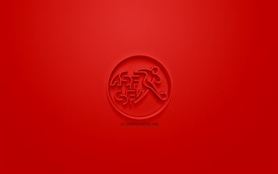 Switzerland national football team, creative 3D logo, red background, 3d emblem, Switzerland, Europe, UEFA, 3d art, football, stylish 3d logo