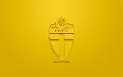 Sweden national football team, creative 3D logo, yellow background, 3d emblem, Sweden, Europe, UEFA, 3d art, football, stylish 3d logo