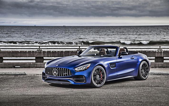 Download Wallpapers 4k Mercedes Amg Gt R Roadster Blue Cabriolet