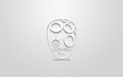 Slovenia national football team, creative 3D logo, white background, 3d emblem, Slovenia, Europe, UEFA, 3d art, football, stylish 3d logo