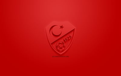 Turkey national football team, creative 3D logo, red background, 3d emblem, Turkey, Europe, UEFA, 3d art, football, stylish 3d logo