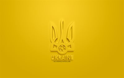 Ukraine national football team, creative 3D logo, yellow background, 3d emblem, Ukraine, Europe, UEFA, 3d art, football, stylish 3d logo