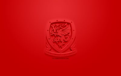 Wales national football team, creative 3D logo, red background, 3d emblem, Wales, Europe, UEFA, 3d art, football, stylish 3d logo