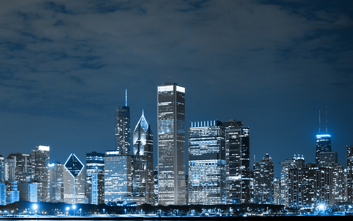 Chicago, 4k, modern buildings, american cities, Illinois, nightscapes, America, Chicago at night, USA, City of Chicago, Cities of Illinois